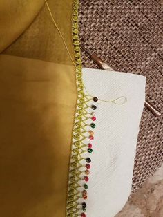 This Pin was discovered by İsm Saree Tassels, Piercings, Crochet Borders, Moda Emo, Fashion Sewing, Baby Booties, Blouse Designs, Latest Fashion Trends, Diy And Crafts
