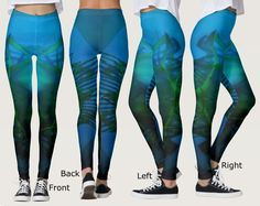 Women's Turquoise, Green and Black Shadow Leggings