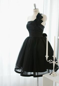 One shoulder Black Bow Cool Dress -New style from WeiweiK