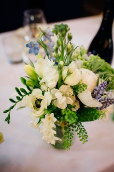 Blue White Jar Flowers Centrepiece Relaxed London Vintage Spring Wedding http://www.mariannechua.com/