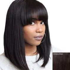 Women's Stylish Straight Neat Bang Human Hair Bob Wig (MEDIUM BROWN) in Capless Wigs | DressLily.com