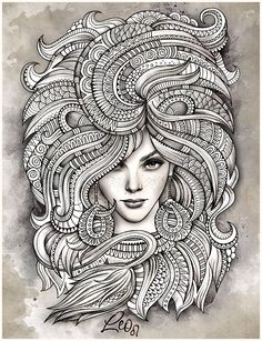 "Zodiac illustration ""LEO"" on Behance --> If you're in the market for the top adult coloring books and supplies including drawing markers, colored pencils, gel pens and watercolors, visit our website at http://ColoringToolkit.com. Color... Relax... Chill."