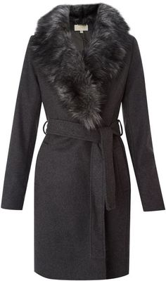 Michael Kors -Belted Wool Coat with Fur Collar
