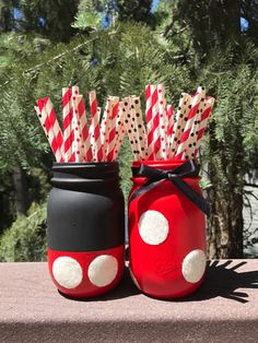Mickey and Minnie Mason Jars, Mickey Mouse Birthday Party, Kids Room Decor, Minnie Mouse Birthday, Mickey Mouse Shower, Disney Baby Shower by TouchedByKiki on Etsy https://www.etsy.com/listing/526861434/mickey-and-minnie-mason-jars-mickey