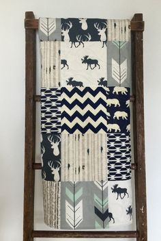Baby Quilt Boy Navy Gray Crib Bedding Woodland Nursery Deer Chevron Moose Ridge
