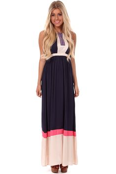 Lime Lush Boutique - Navy and Cream Color Block Maxi Dress