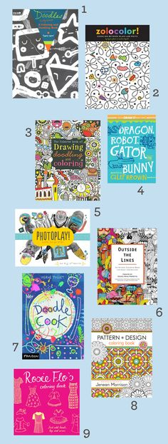 9 of the Coolest Modern Coloring Books / design mom Art Books For Kids, Childrens Books, Art For Kids, Crafts For Kids, Colouring Pages, Coloring Books, Minis, Doodle Books, For Elise