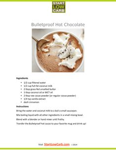 Ketogenic diet dementia ketogenic diet with hypoglycemia,keto diet eat diarrhea from keto diet,headaches during keto diet ketogenic pizza recipes. Bulletproof Coffee, Bulletproof Diet, Hot Chocolate Ingredients, Hot Chocolate Recipes, Low Carb Drinks, Healthy Drinks, Healthy Meals, Healthy Food, Recipes