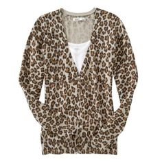 Leopard v-neck cardigan Super soft.  Great condition. Old Navy Sweaters Cardigans