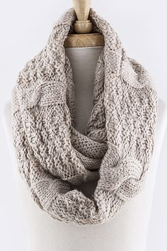 Mix Cable Knit Infinity Scarf - Wear it as wrap, hoodie, and cowl - Approx. length x width - Acrylic - Stretchable - One size Fall Winter Outfits, Autumn Winter Fashion, Chevron Infinity Scarves, Cowl Scarf, Circle Scarf, Scarf Styles, Womens Scarves, Cable Knit, Fashion News