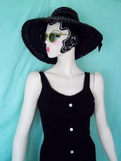 DYNAMITE 1950's Black Knit Swimsuit Very by GlamorousScavenger, $42.00