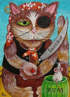 "Aceo original acryl painting ""pirate cat"""