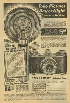 Flash attachment like press photographers carry. Advertising