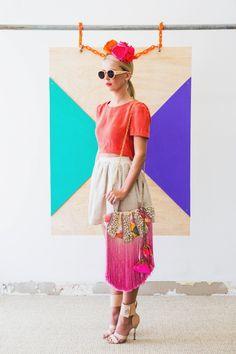 Isobel Badin - Pink Fanta made-to-order - 'a work of art' hand dyed silk & fringing, shell embellished shoulder bag