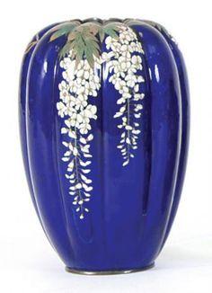 Japanese Cloisonné Wisteria Vase. Meiji period. (c1895)