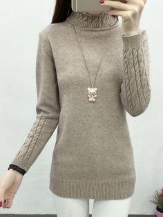 #Fashionmia - #Fashionmia Turtleneck Plain Pullover - AdoreWe.com