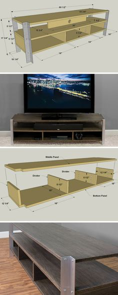 Sections and details diy tv stand Woodworking Plans, Woodworking Projects, Woodworking Classes, Woodworking Videos, Custom Woodworking, Youtube Woodworking, Woodworking Store, Hifi Regal, Wood Furniture