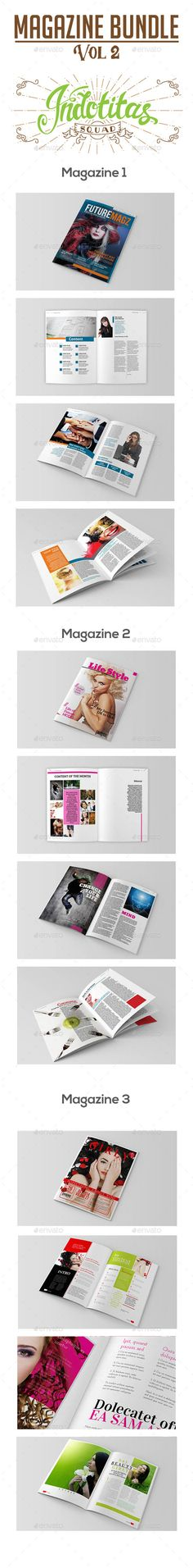 Magazine Template Bundle Vol 2 by indotitas Magazine Template Bundle Vol 2 that can be used for any type of industry. This item fully editable and customizable. Features :Pa
