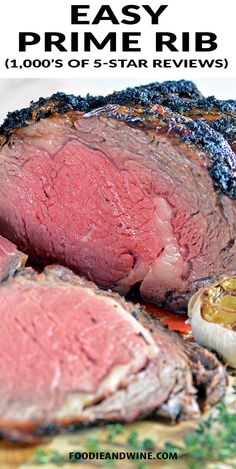 Easy Garlic and Herb Prime Rib Recipe! 1,000's of 5-Star Reviews. Easy for beginners to master! This Prime Rib Recipe is loaded with garlic, herbs and flavor. Finish it off with Au Jus for an unforgettable meal. #primeribrecipes #roastrecipes #christmasrecipes #easterrecipes #thanksgivingrecipes #primerib