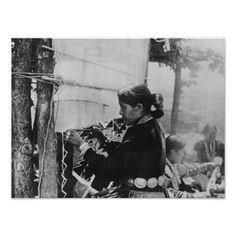 Navajo Woman Weaving a Blanket Photograph Poster