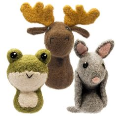 CraftyAlien® - Backyard Critters 6 Felted Knit Amigurumi Pattern: Frog, Moose, Armadillo, $6.00
