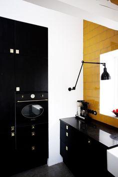 kitchen, mustard tiles, anglepoise