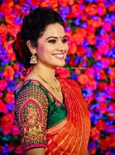 Contrast designer blouse with beautiful work. Cutwork Blouse Designs, Wedding Saree Blouse Designs, Pattu Saree Blouse Designs, Half Saree Designs, Fancy Blouse Designs, Stylish Blouse Design, Saree Wedding, Bridal Sarees, Lehenga Designs