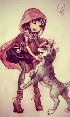 Cerise Hood and her pet wolf