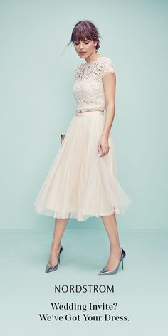 What to wear to a wedding? A lovely lace top plus a pleated tulle skirt is the perfect combination for happily ever after.:
