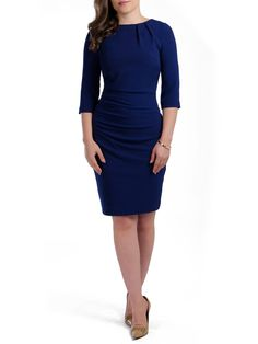 Jeetly - CARA - Petite navy ruched dress