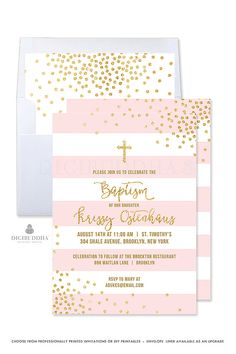 Girl Baptism Invitation Girl Christening Invitation Pink and Gold Baptism Invites Baby Girl Baptism Invitation Printable Invitation - Krissy style by Digibuddha