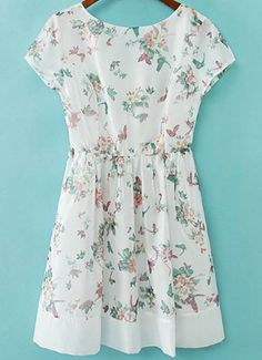 White Short Sleeve Floral Butterfly Print Dress GBP£20.03
