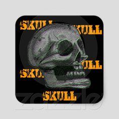 "Stickers the ""Skull"" Black & White Lite Green, Orange Black from Zazzle.com"
