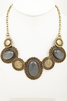 Wendy Gold & Grey Statement Necklace - $10 from jewelleryoutlet.com.au