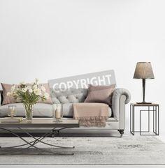 ソファを房状のグレーと現代的なエレガントなシックなリビング ルーム