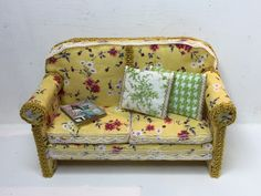 Dollhouse miniature DIY sofa with cushions and printable magazine, all shabby chic style, made by Dany's Minis