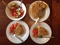 Perfect Spanish tortilla with tomato salad