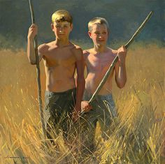 """Boys with Sticks"" by Jeffrey T. Larson, American artist, b.1962"