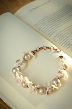 Pearl and lace bracelet champagne and ivory by DamselofDainty