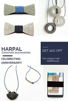 We are celebrating 2nd anniversary! Get 20% Off! Use coupon code HARPAL20. Sale bow ties for men, discount jewelry for her. Concrete accessories  #concrete #accessories #forhim #forher #jewelry #bowties #sale #discount