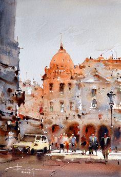 Corneliu Dragan Targoviste - Watercolour Acuarela peisaj citadin 20 // evanescentescape.com