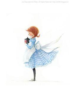 "Kim Min Ji, ""Wizard of Oz"" illustration.  Dorothy and Toto. ^_^"