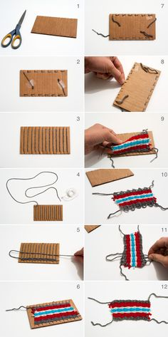 HOW TO MAKE: Weaved Yarn on cardboard cutouts for Kids. We love this tutorial as it shows how versatile cardboard can be! Via Made by Joel