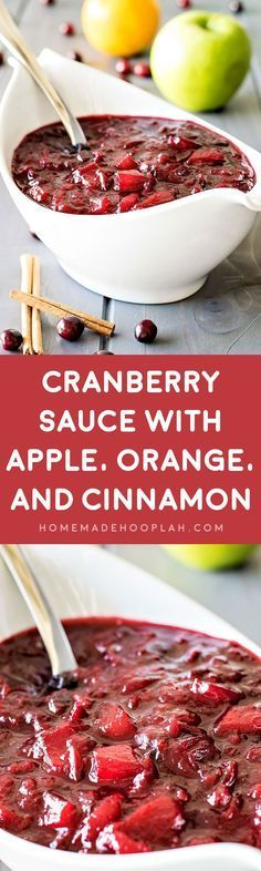 Cranberry Sauce with Apple, Orange, and Cinnamon! Cranberry sauce with a twist - apples, orange, and cinnamon gives this traditional holiday side a new lease on life. Make it in advance and store it with Hefty bags! Cranberry Apple Sauce, Cranberry Recipes, Fall Recipes, New Recipes, Holiday Recipes, Dinner Recipes, Cooking Recipes, Favorite Recipes, Recipies