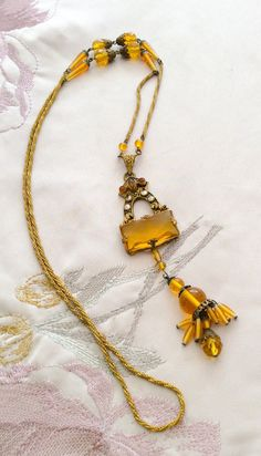 Czech Glass Amber Necklace Art Deco Flapper 1920s Vintage Jewelry