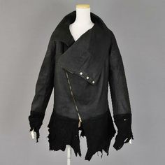 Awesome leather and fabric jacket by Mint NeKO ハイネックレザーライダース