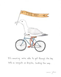 seagulls on bicycles - Marc Johns