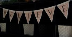 tutorial  Under The Table and Dreaming: No Sew Fabric & Felt Transfer Christmas Pennant Banner {believe}
