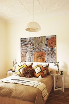 Soothing earth tones and African patterns - bedroom design @pattonmelo