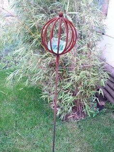 Kelchblume blume eisen edelrost rost gartenstecker for Gartendeko glas stecker